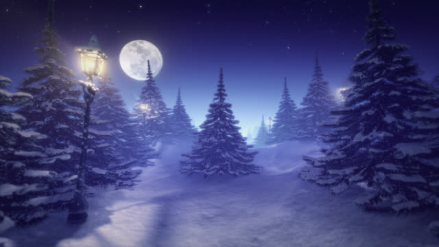 Fantastische winterlandschap blauw getint