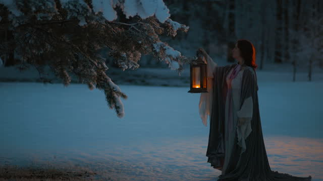 fantasy cosplay: young woman with vintage lantern looking at fir tree covered in snow. medieval fairytale concept - dark stock videos & royalty-free footage