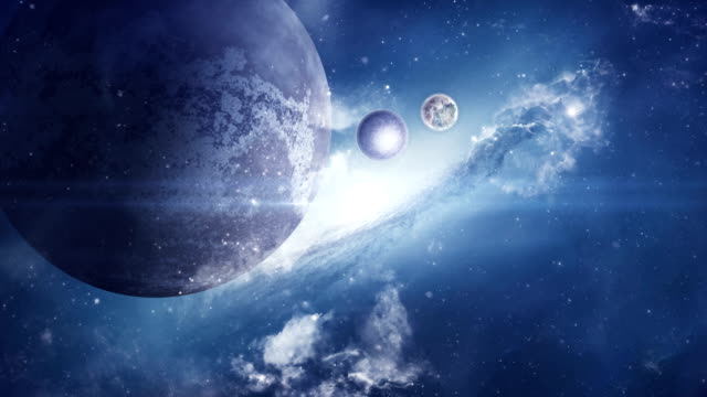 fantasy sci-fi space with planets and nebula - alien stock videos & royalty-free footage