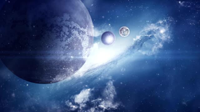 vídeos de stock e filmes b-roll de fantasy sci-fi space with planets and nebula - extraterrestre