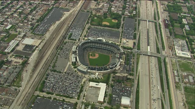 WGN Far Aerial Shot Of US Cellular Field on June 08 2013 in Chicago Illinois