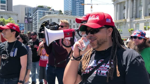 far right activists square off with antifascist protesters during a freedom of speech rally in front of city hall on may 03 2019 in san francisco... - anti fascism stock videos & royalty-free footage