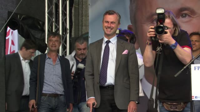 far right candidate narrowly loses in race for the presidency hofer supporters at rally clapping norbert hofer onto platform at rally using walking... - austrian culture stock videos & royalty-free footage