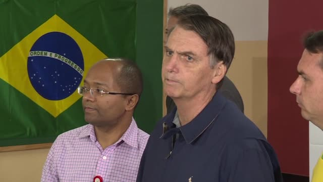 far right presidential candidate jair bolsonaro warns against socialism after casting his vote in brazil's general elections saying it could lead the... - socialism stock videos & royalty-free footage