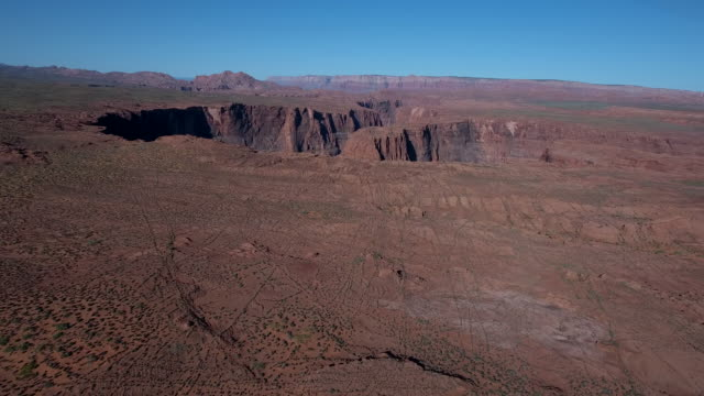 Far side tracking of horseshoe bend 4k, Drone aerial view of Horseshoe bend along the Colorado river leading to grand canyon and glen canyon. Morning and evening light with sun on the horizon