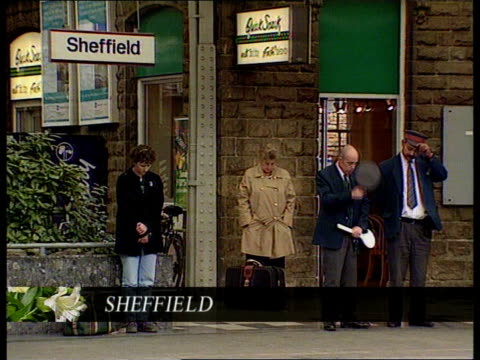 """farewell to a princess""; ytv yorks: sheffield: people observing minute's silence at train station gv empty station and tracks - sheffield stock videos & royalty-free footage"