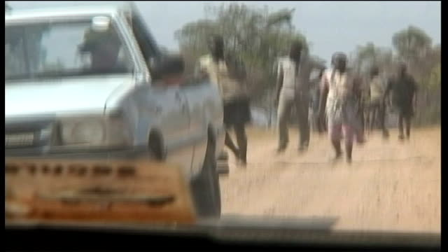 EXT GVs Mob of ZANUPF militants at top of road leading to white owned farm GV Militants running through trees waving sticks Group of white farmers...