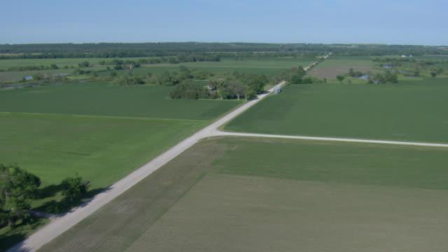 Farm fields and gravel roads