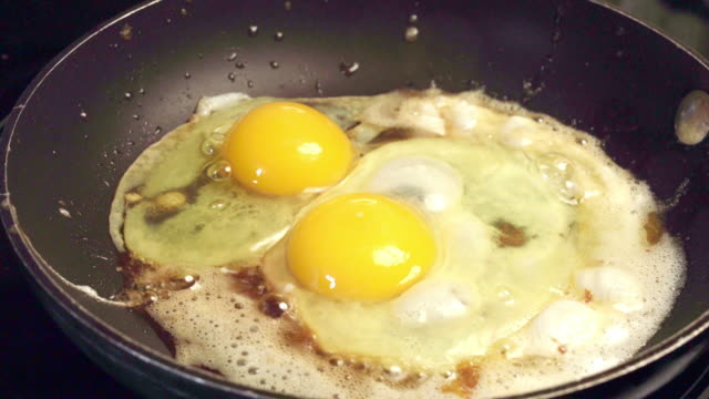 farm fresh eggs frying in a skillet - pan greek god stock videos & royalty-free footage