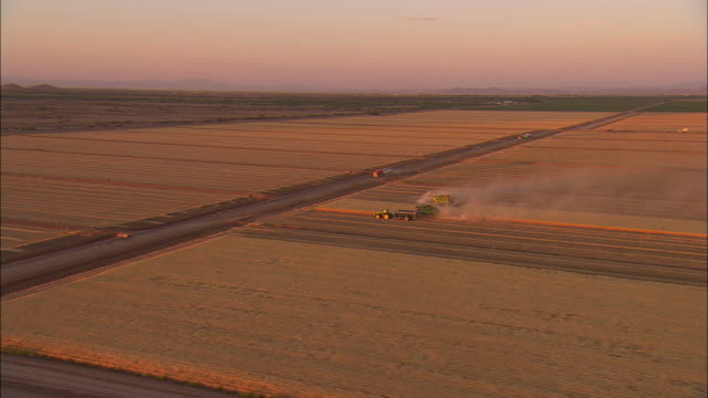 AERIAL Farm machinery harvesting wheat with blowing dust near Wilcox, Arizona, USA