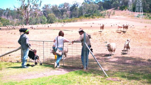 Farm worker guiding family through a tourist farm