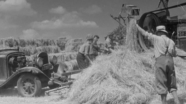 vídeos y material grabado en eventos de stock de montage farm workers cutting grass and making hay / united kingdom - bieldo equipo agrícola