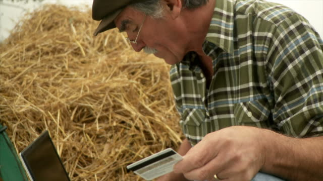 hd: farmer and e-commerce - hay stock videos & royalty-free footage
