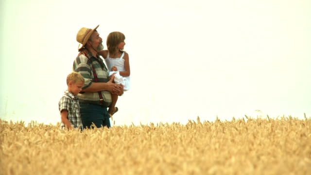 hd: farmer and his grandchildren - granddaughter stock videos & royalty-free footage