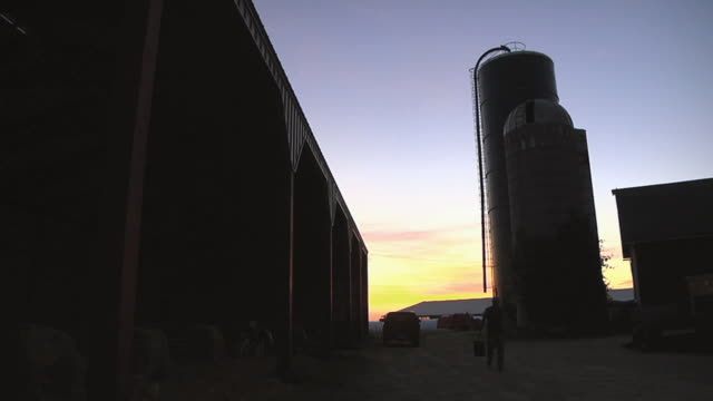 ws slo mo farmer arriving at dairy farm / columbus, wisconsin, usa - columbus indiana stock videos & royalty-free footage