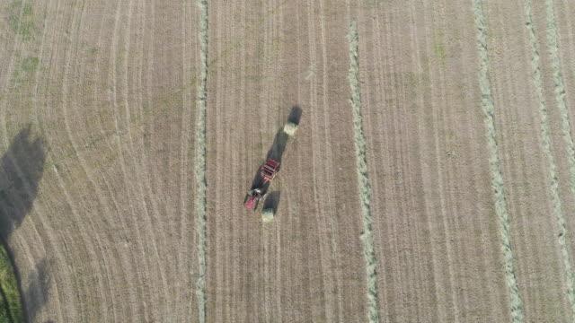 farmer bailing hay - bailing hay stock videos & royalty-free footage