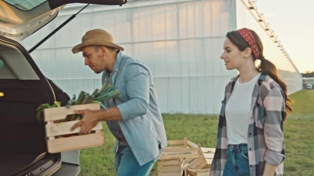 vídeos y material grabado en eventos de stock de slo mo farmer lleva una caja llena de verduras frescas a un cliente - vegetable