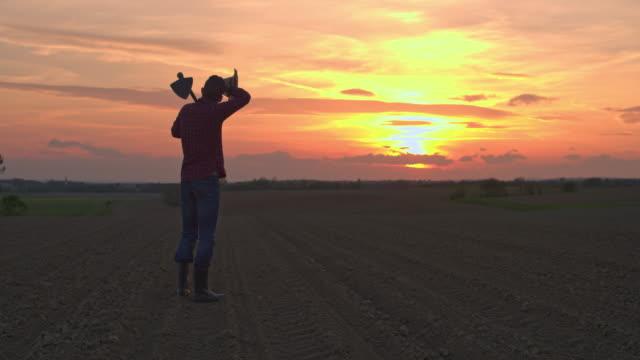 ms-farmer mit hacke in idyllischer, ländlicher gepflügtes feld bei sonnenuntergang - jäthacke stock-videos und b-roll-filmmaterial