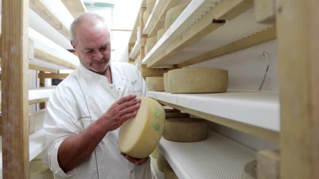 酪農場で乾燥チーズホイールをチェックする農家 - シェーブルチーズ点の映像素材/bロール