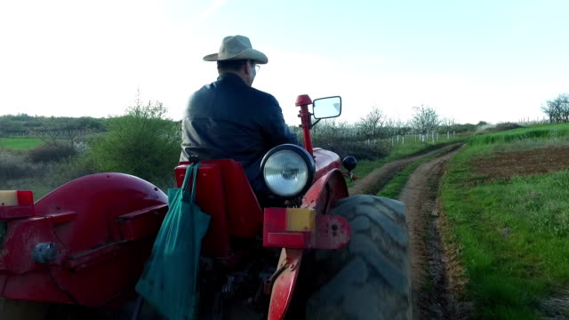 stockvideo's en b-roll-footage met boer ckecking zijn land - tractor