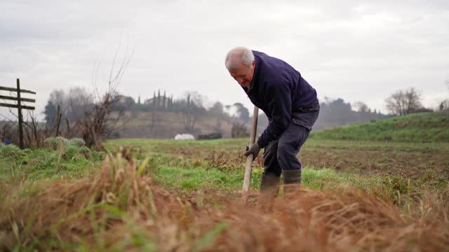 農民挖地 - 僅一成熟男士 個影片檔及 b 捲影像
