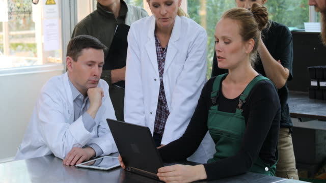 farmer discussing over laptop with scientists - agricultural cooperative stock videos and b-roll footage