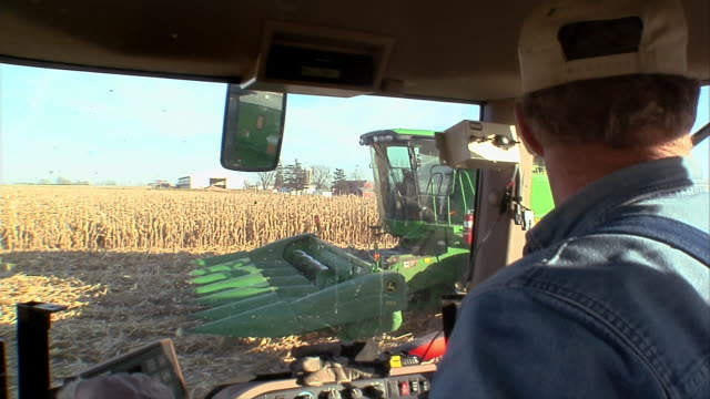 cu farmer driving tractor alongside harvester during corn harvest/ manchester, michigan - hat stock videos and b-roll footage