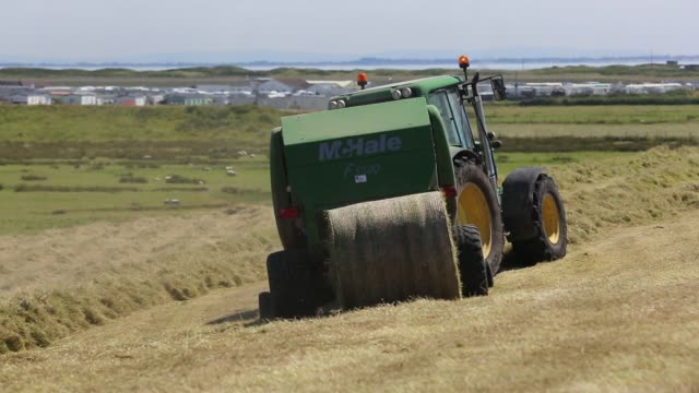 A farmer gathering in hay in a field on Walney Island, Cumbria, UK.