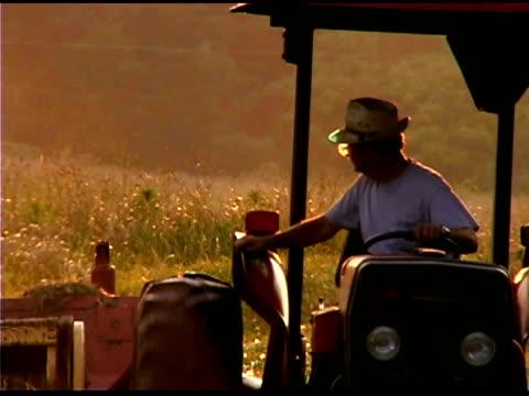 farmer harvesting hay in tractor, clover, south carolina - south america video stock e b–roll