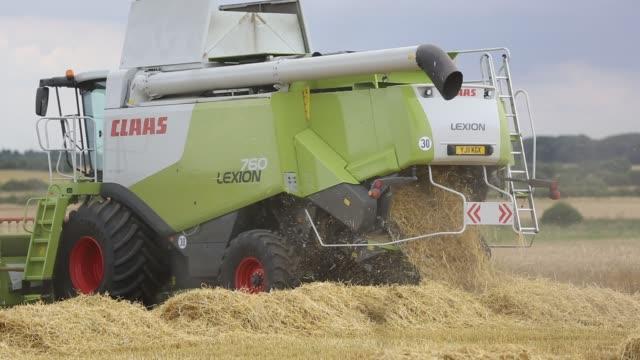 farmer harvesting wheat on a farm near barmston, east coast, yorkshire, uk. - harvesting stock videos & royalty-free footage