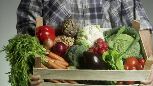 a farmer holding a case of vegetables. - 証書点の映像素材/bロール