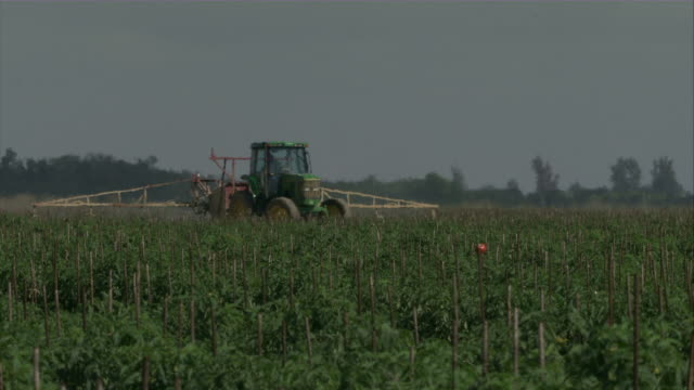 ms farmer in tractor watering crops / florida, usa   - insecticide stock videos & royalty-free footage