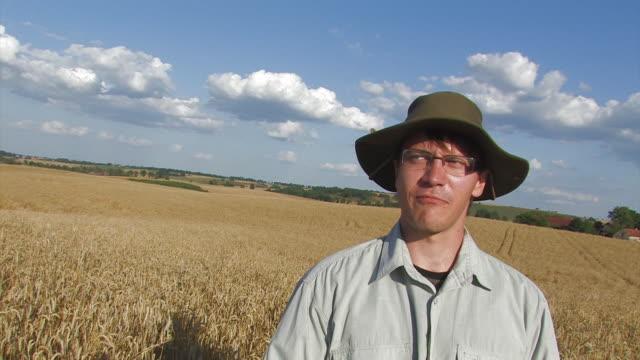 farmer on ripe wheat field - monoculture stock videos & royalty-free footage