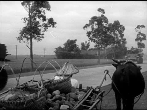 vídeos de stock e filmes b-roll de farmer & ox cart w/ baskets & potatoes, light tanks moving on road. vs chinese nationalist paratroopers preparing for practice jump, adjusting... - anticomunismo