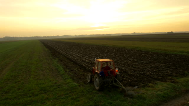aerial farmer plowing the field - tractor stock videos & royalty-free footage