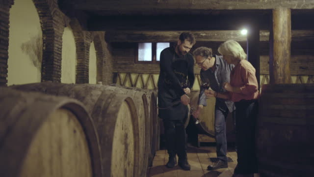 farmer pouring wine from barrel - wine cellar stock videos and b-roll footage
