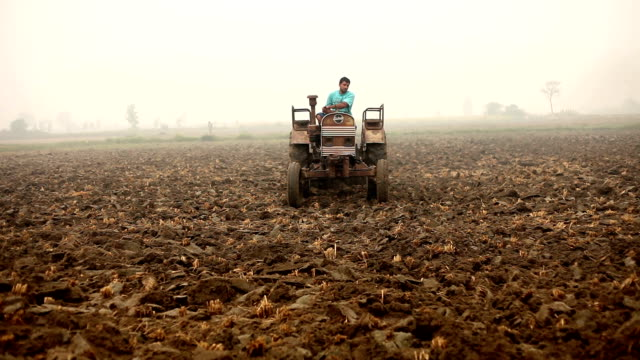 farmer riding tractor to the cultivated land - harrow agricultural equipment stock videos & royalty-free footage