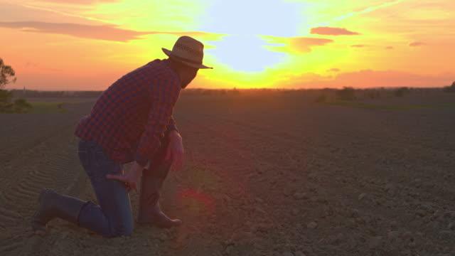 vídeos de stock, filmes e b-roll de ms farmer escavar e sujeira na idílica, rural campo arado, examinando ao pôr do sol - agricultura