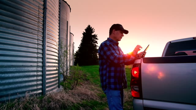 Farmer uses a digital tablet to access the internet
