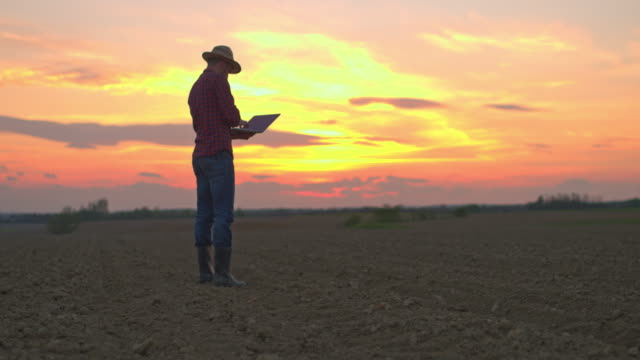 ws farmer using laptop in idyllic,rural plowed field at sunset - back lit computer stock videos & royalty-free footage