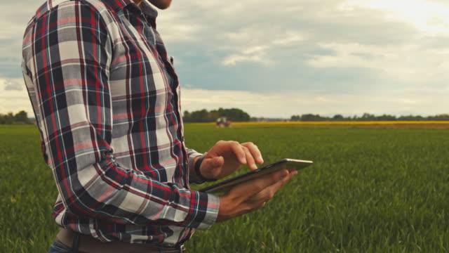 ms tu slo mo farmer using tablet in field - tartan stock videos & royalty-free footage