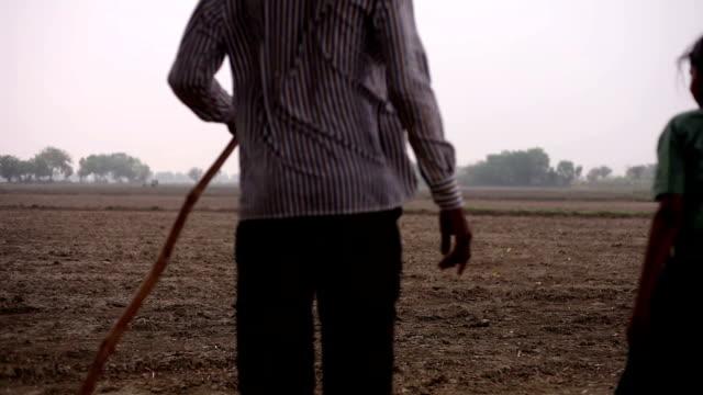 Agriculteur à pied dans le champ avec sa fille