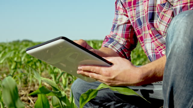 MS DS Farmer mit einem digitalen Tablet