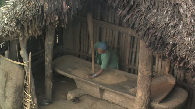 a farmer with chickens at her feet pounds grain in a grass hut in india. - grass hut stock videos & royalty-free footage