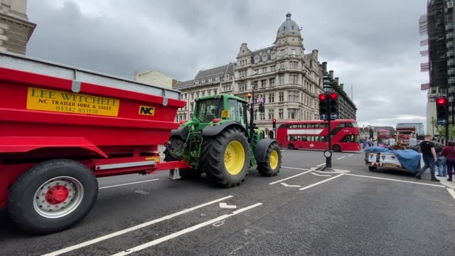 farmers and environmentalist activist gathered at parliament square in central london on july 08 in a protest against threats to uk food standards in... - masterchef stock videos & royalty-free footage