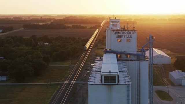 farmers co-op and small town in kansas - drone shot - midwest usa stock videos & royalty-free footage