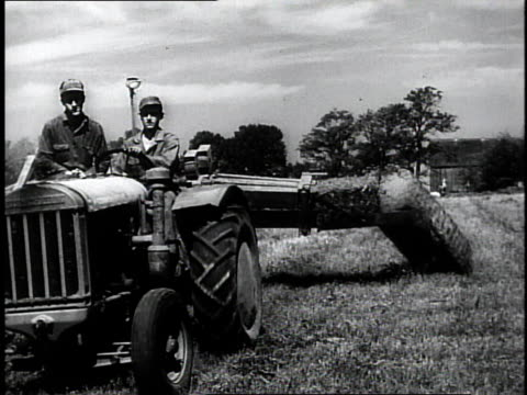 1950 montage farmers driving a tractor with a hay bailer behind it / southville, kentucky, united states - farmer hay stock videos & royalty-free footage