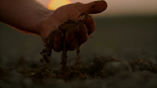 SLO MO Farmer's hand scooping dirt on a field at sunset