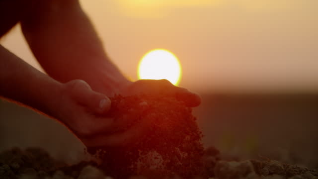 vídeos de stock e filmes b-roll de slo mo farmer's hands scooping dirt on a field at sunset - solo