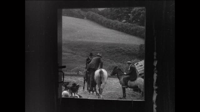 montage farmers leaving ranch on horseback / aberystwyth, wales - aberystwyth stock videos & royalty-free footage